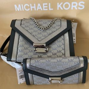 Michael Kors Metallic Whitney Shoulder Bag/Wallet